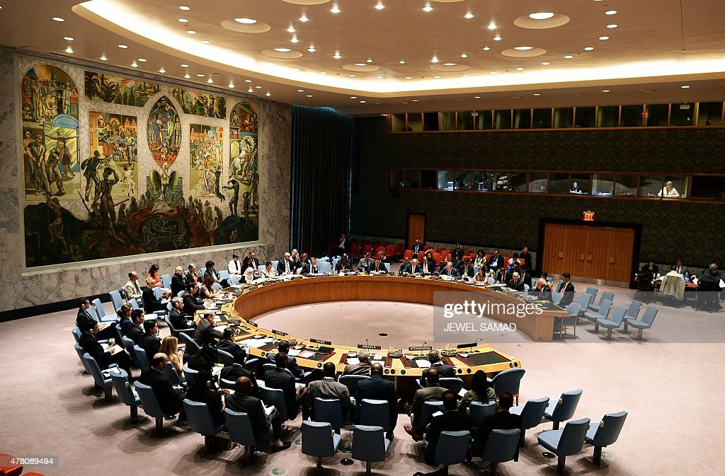 Representatives attend a security council meeting on 'Report of the Secretary General on the situation in Afghanistan and its implications for...