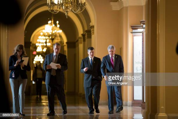 US Representatives Bob Goodlatte Jeb Hensarling and Michael McCaul walk to a meeting on Capitol Hill May 22 2017 in Washington DC Members of the...
