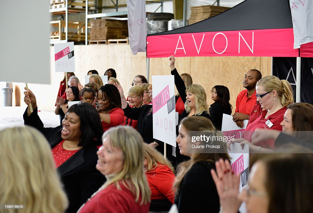 Representatives cheer as Avon Kicks off the SAY YES TO AVON BEAUTY on January 11, 2013 in Columbus, Ohio.