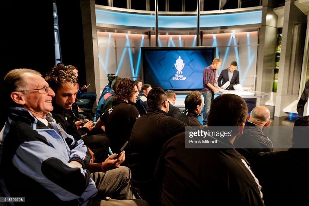 Representatives from football clubs across the country gather for the FFA Cup round of 32 draw announcement at the FFA Offices on June 30, 2016 in Sydney, Australia.