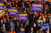 Representatives from NYC's unionized labor groups hold signs and cheer Following her win of seven of the eleven Democratic primaries on 'Super...