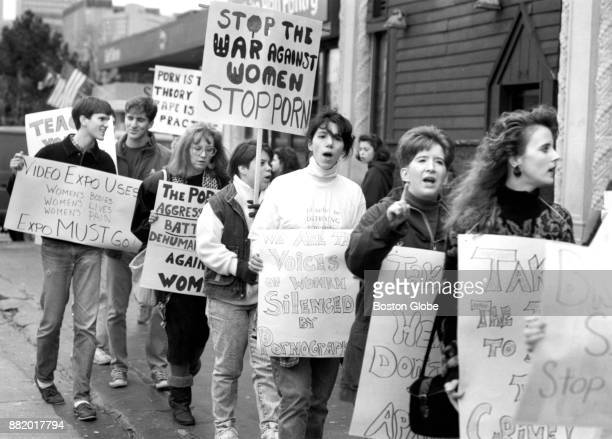 Representatives from six colleges and several women's groups gather to protest the opening of a pornography store called Video Expo in the Fenway...