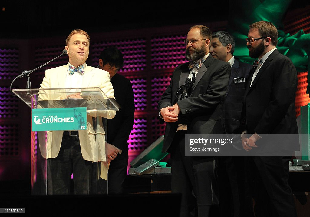 Representatives from Slack winner of Founder of the Year collect their award at the TechCrunch 8th Annual Crunchies Awards at the Davies Symphony...