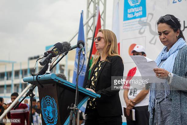Representatives from the Japanese delegation launch a salutation and homage to the people of Gaza and for refugees as well as underlining their...