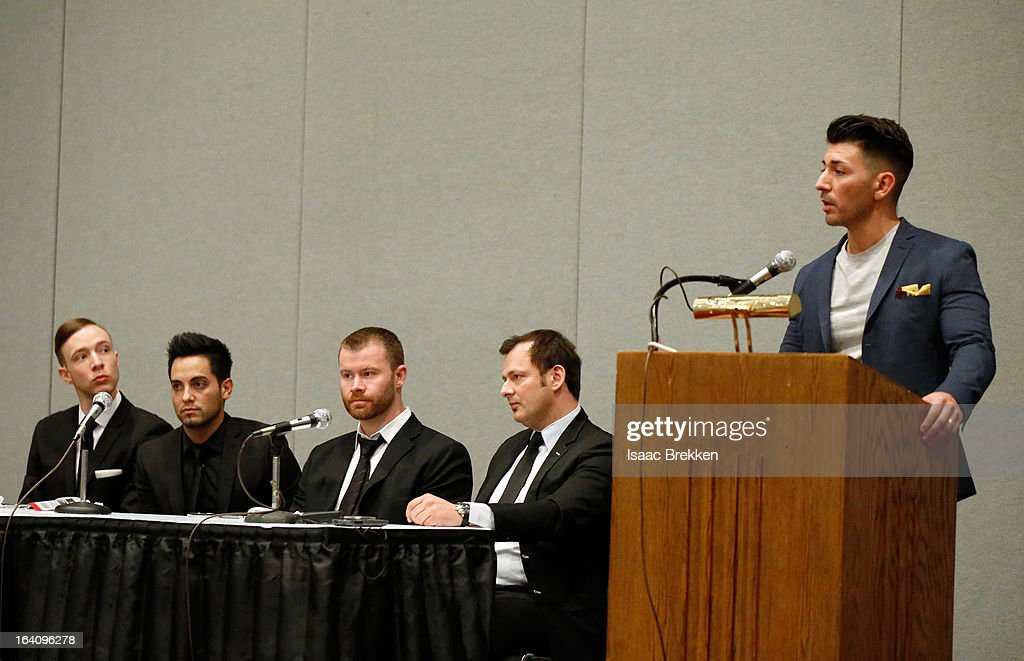 Representatives from the Tryst and XS nightclubs (L-R) Ryan Perrings, Jared Garcia, John Wood, Yannick Mugnier and Ronn Nicoli participate in a panel discussion at the 28th annual Nightclub & Bar Convention and Trade Show at the Las Vegas Convention Center on March 19, 2013 in Las Vegas, Nevada.