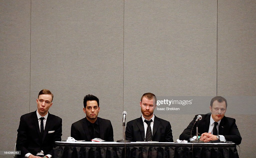 Representatives from the Tryst and XS nightclubs (L-R) Ryan Perrings, Jared Garcia, John Wood and Yannick Mugnier participate in a panel discussion at the 28th annual Nightclub & Bar Convention and Trade Show at the Las Vegas Convention Center on March 19, 2013 in Las Vegas, Nevada.