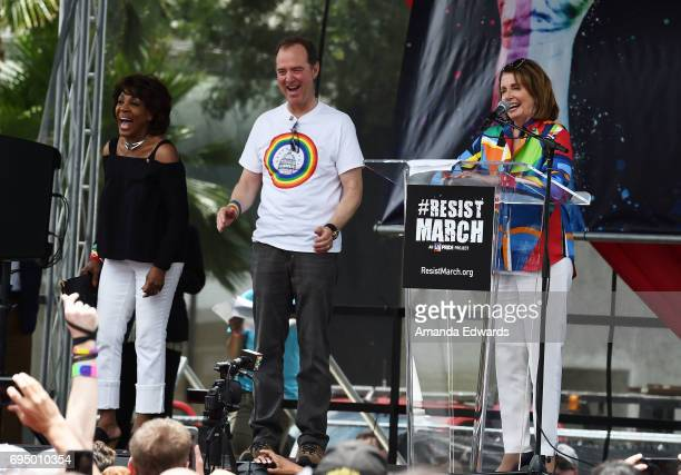 Representatives Maxine Waters Adam Schiff and Nancy Pelosi attend the LA Pride ResistMarch on June 11 2017 in West Hollywood California