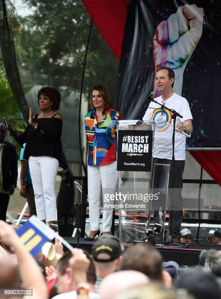 Representatives Maxine Waters Nancy Pelosi and Adam Schiff attend the LA Pride ResistMarch on June 11 2017 in West Hollywood California