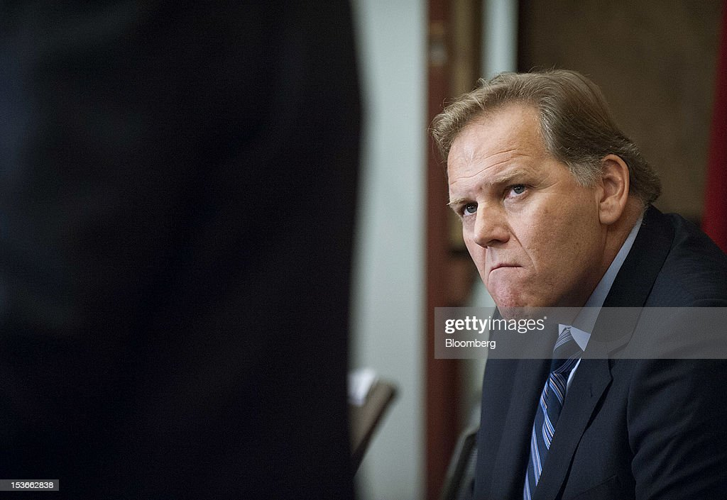 Representatives Mike Rogers, a Republican from Michigan and chairman of the House Intelligence Committee, listens during a news conference in Washington, D.C., U.S., on Monday, Oct. 8, 2012. U.S. companies should avoid business with Huawei Technologies Co., China's largest phone-equipment maker, to guard against intellectual-property theft and spying, Rogers said. Photographer: Jay Mallin/Bloomberg via Getty Images
