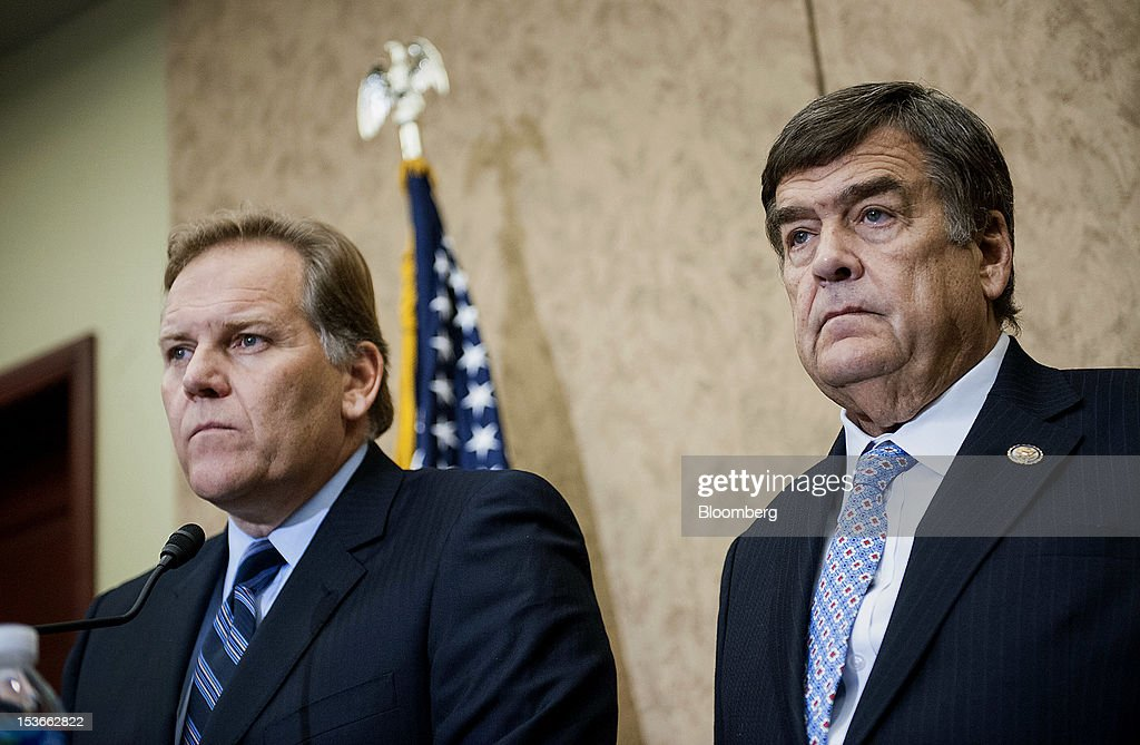 Representatives Mike Rogers, a Republican from Michigan, left, and Dutch Ruppersberger, a Democrat from Maryland, address the media during a news conference in Washington, D.C., U.S., on Monday, Oct. 8, 2012. U.S. companies should avoid business with Huawei Technologies Co., China's largest phone-equipment maker, to guard against intellectual-property theft and spying, Rogers said. Photographer: Jay Mallin/Bloomberg via Getty Images