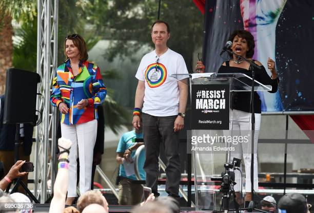 Representatives Nancy Pelosi Adam Schiff and Maxine Waters attend the LA Pride ResistMarch on June 11 2017 in West Hollywood California