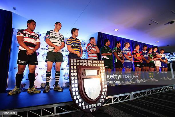 Representatives of all teams line up on stage at the 2009 Shute Shield season launch held at Sydney Football Stadium March 23 2009 in Sydney Australia