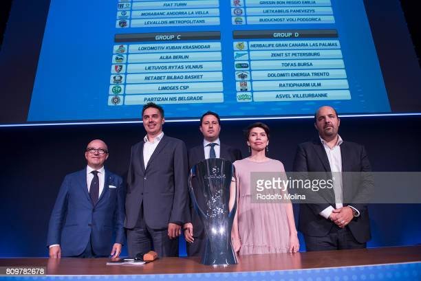 Representatives of Clubs of Group 'A' poses after the 20172018 7Days EuroCup Draw at Imagina Centre Audiovisual on July 6 2017 in Barcelona Spain