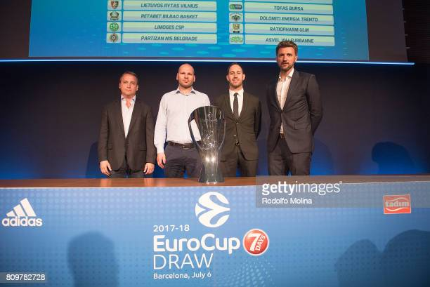Representatives of Clubs of Group 'B' poses after the 20172018 7Days EuroCup Draw at Imagina Centre Audiovisual on July 6 2017 in Barcelona Spain