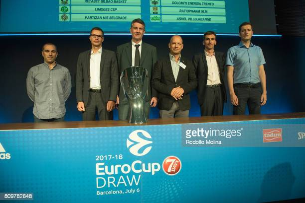 Representatives of Clubs of Group 'C' poses after the 20172018 7Days EuroCup Draw at Imagina Centre Audiovisual on July 6 2017 in Barcelona Spain