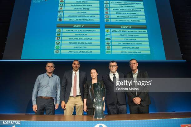 Representatives of Clubs of Group 'D' poses after the 20172018 7Days EuroCup Draw at Imagina Centre Audiovisual on July 6 2017 in Barcelona Spain