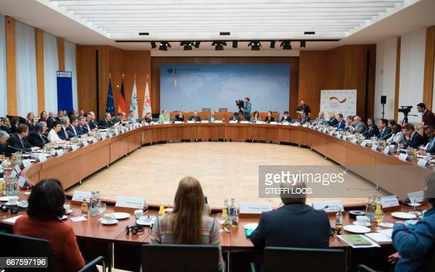 Representatives of governmental and nongovernmental organisations attend a conference to launch the 'Humanitarian appeal of Berlin together against...