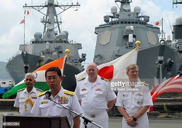 Representatives of Indian Navy US Navy and Japan Maritime SelfDefense Force attend a press conference ahead of their joint exercise 'Malabar' at...