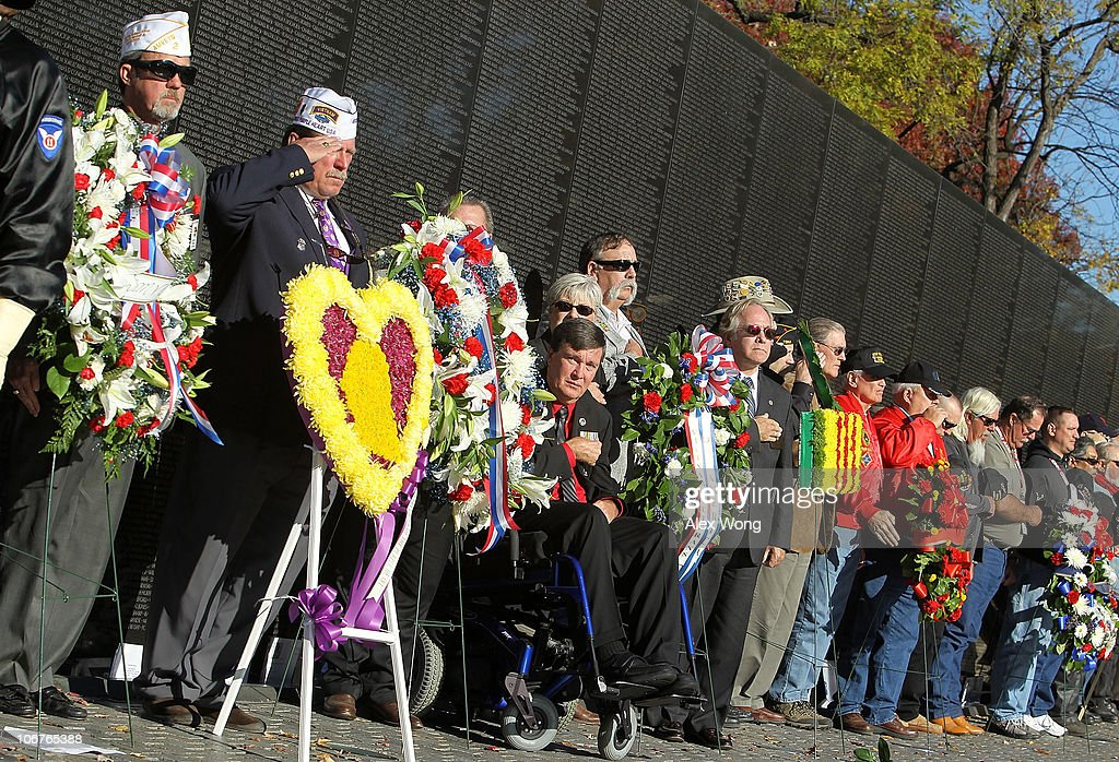 Representatives of military and veteran organizations lay wreaths during a Veterans Day event at the Vietnam Veterans Memorial November 11, 2010 in Washington, DC. The nation's veterans were honored and remembered during the annual Veterans Day.