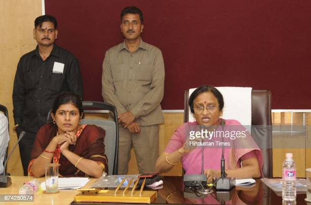 Representatives of Muslim women's organizations discussing the triple talaq issue with UP women welfare minister Rita Bahuguna Joshi and minister of...