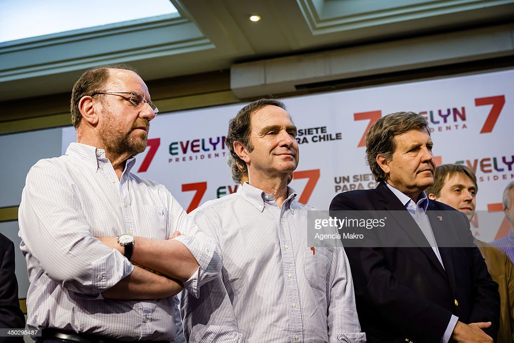Representatives of National Renewal (RN) party and the Independent Democratic Union (UDI), during Evelyn Matthei's speech after the results of the first round of elections for the presidency of Chile on November 17, 2013 in Santiago, Chile.