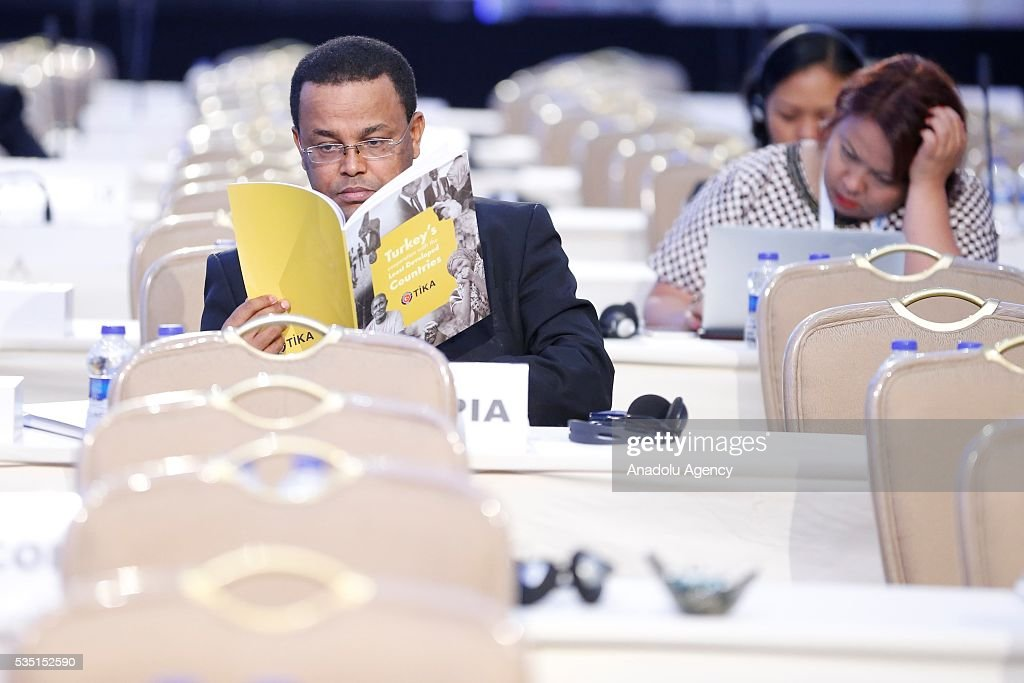 Representatives of participating countries attend 5th general session within the Midterm Review of the Istanbul Programme of Action at Titanic Hotel in Antalya, Turkey on May 29, 2016. The Midterm Review conference for the Istanbul Programme of Action for the Least Developed Countries takes place in Antalya, Turkey from 27-29 May 2016.