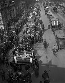 Representatives of regional groups from the Women's Guild of Empire marching along the Embankment London to demonstrate against the imminent general...