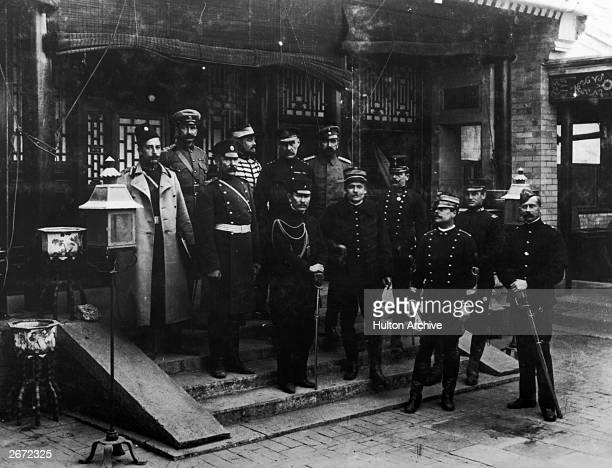 Representatives of the German British French Italian American and Russian military forces who combined to defeat the Boxer Rebellion in China in...