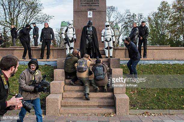 Representatives of the Internet Party of Ukraine dressed as characters from Star Wars including parliamentary candidate Darth Viktorovich Vader visit...