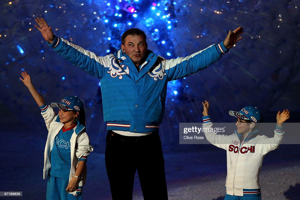 Representatives of the Winter Olympics in Sochi 2014 enter the stadium during the Closing Ceremony of the Vancouver 2010 Winter Olympics at BC Place on February 28, 2010 in Vancouver, Canada.