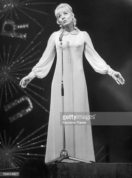 Representing France at the Eurovision song contest singer Isabelle AUBRET pictured during final rehearsal at the Royal Albert Hall London on April...
