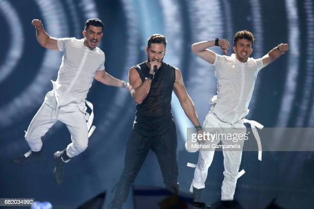 IMRI representing Israel performs the song 'I Feel Alive' during the second semi final of the 62nd Eurovision Song Contest at International...