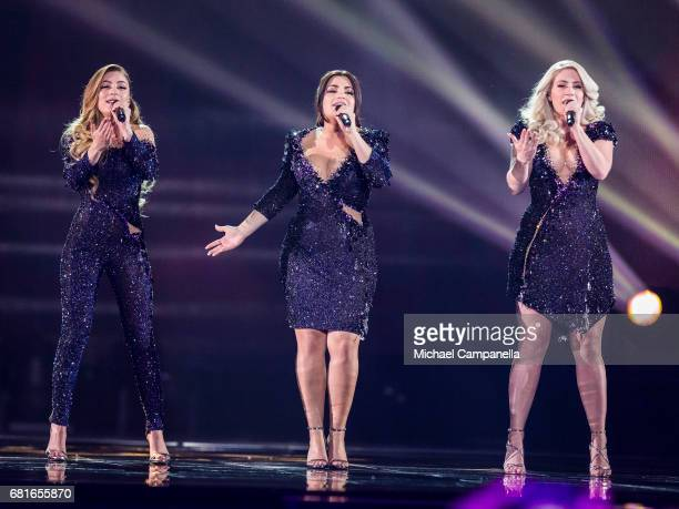 OG3NE representing the Netherlands perform the song 'Lights and Shadows' during the rehearsal for the second semi final of the 62nd Eurovision Song...