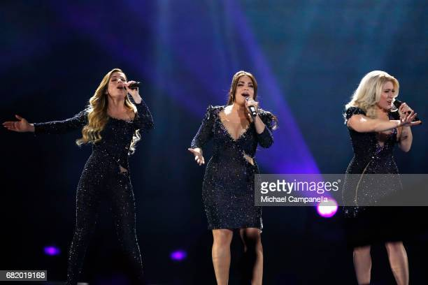 OG3NE representing the Netherlands perform the song 'Lights and Shadows' during the second semi final of the 62nd Eurovision Song Contest at...