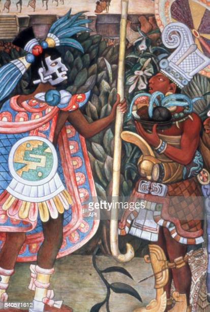 Reproduction d'une fresque du site maya de Bonampak au Musée national d'anthropologie de Mexico Mexique