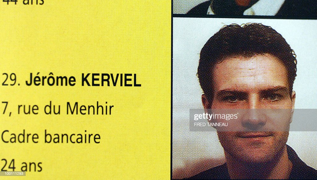 Reproduction made 29 January 2008 in Pont-L'Abbe of an undated picture showing French trader Jerome Kerviel on the 2001 electoral leaflet of Thierry Mavic running for the seat of Pont-L'Abbe mayor with his list 'Gérer autrement' (Managing differently). Kerviel was charged 28 January 2008 over the massive loss of seven billion dollars at Societe Generale bank.