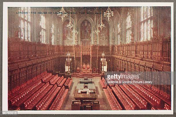 A reproduction of a colour photograph of the interior of the House of Lords in the Houses of Parliament London taken by an unknown photographer and...