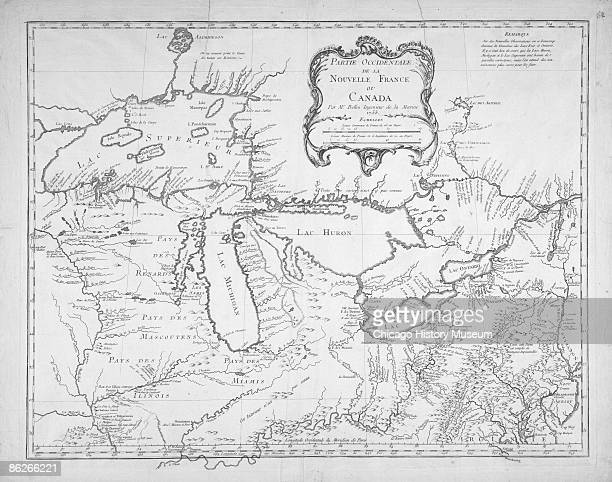 Reproduction of a map of New France and Canada 1755 The Chicago Portage or land bridge between the Chicago and Des Plaines rivers served as an...