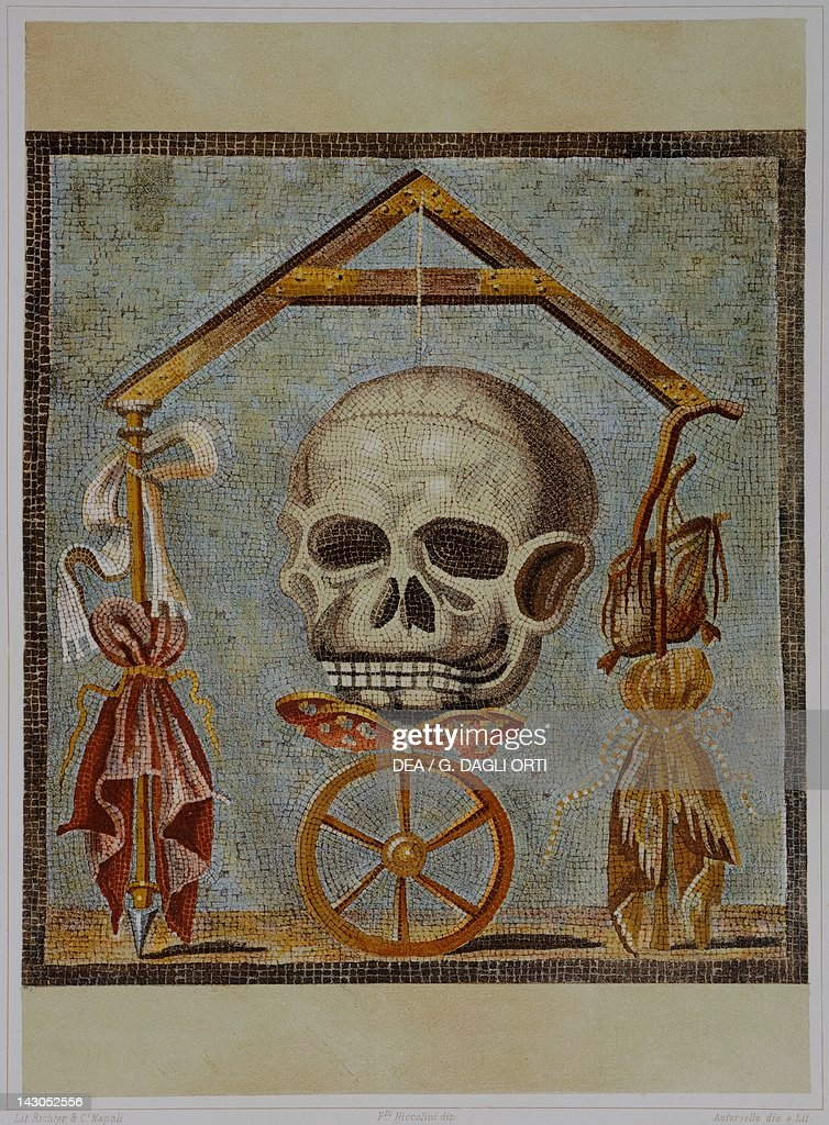 Reproduction of a mosaic with Masonic symbols from The Houses and Monuments of Pompeii by Fausto and Felice Niccolini Volume II General Descriptions...