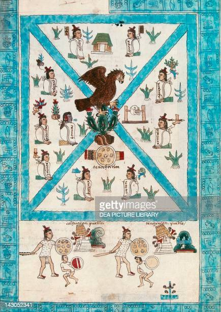 Reproduction of a page of the Mendoza Code showing an illustration of the founders of Tecnochtitlan sitting contemplating a vision of an eagle on a...