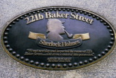 A reproduction of a plate indicating number 221b of Baker Street London W1 the home of fictional detective Sherlock Holmes 8th December 1986