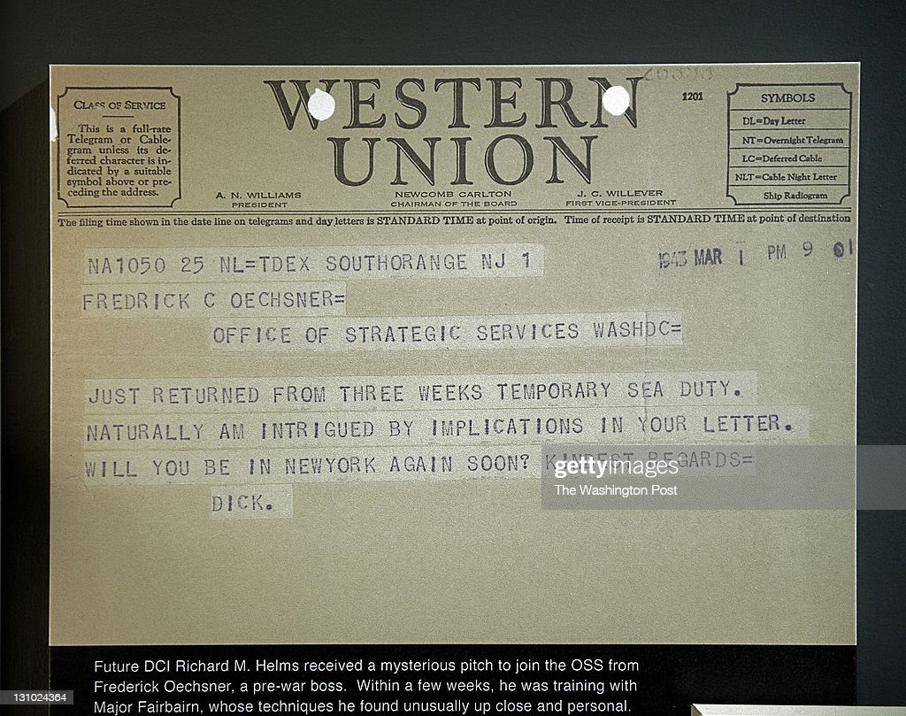 Reproduction of a telegram from Richard Helms part of a new exhibit dedicated to the OSS has opened at the CIA in house museum on October 2011 in...