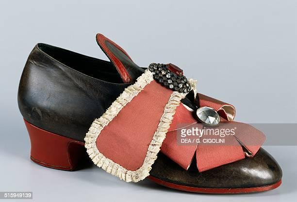 Reproduction of Louis XIV's shoes known as the Sun King Versailles 1715 France 18th century Vigevano Castello Visconteo Sforzesco Museo Della...