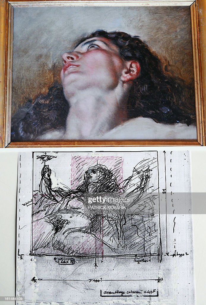 A reproduction of the allegedly head (up) of the model of the French artist Gustave Courbet's painting (1819-1877) 'L'Origine du Monde' (The Origin of the World), and a draw showing the initial place of the head in the painting, are pictured on February 11, 2013 in Paris. Jean Jacques Fernier, French painting expert especially of Courbet believes he has solved the mystery of the model in a celebrated 19th century painting as a result of an art lover's 1,400 euro antique shop purchase that could turn out to be worth 40 million euros ($53.6 million), weekly Paris Match reported on February 7, 2013.