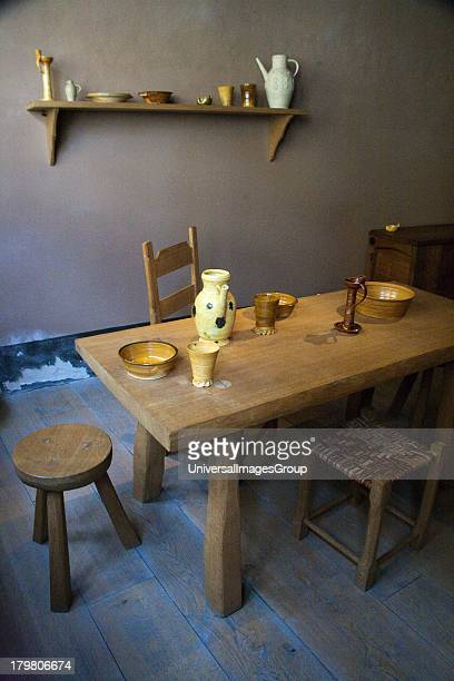 Reproduction of the Luther familys 16th Century living room in Luther House of Birth Museum Eisleben Germany an UNESCO World Heritage Site