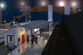 Représentation 3D de la passerelle ferroviaire vu de nuit du projet WAVRE 2030