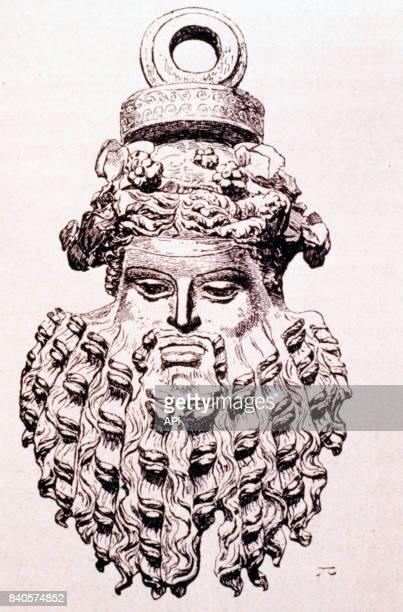 Représentation de la sculpture d'une tête de Bacchus