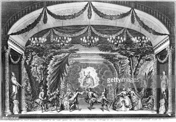 Représentation d'une scène de théâtre réalisée en 1749