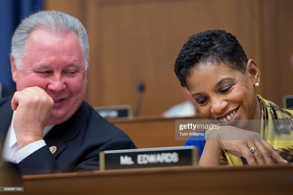 Reps. Albio Sires, D-N.J., and Donna Edwards, D-Md., attend a House Transportation and Infrastructure Committee hearing in Rayburn Building on the need to reform the air traffic control system, February 10, 2016.