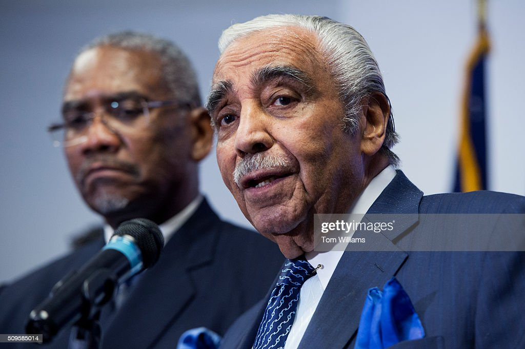 Reps. Charlie Rangel, D-N.Y., right, and Gregory Meeks, D-N.Y., chairman of the Congressional Black Caucus PAC, conduct a news conference at the DNC where members of the CBC PAC endorsed Hillary Clinton for president, February 11, 2016.